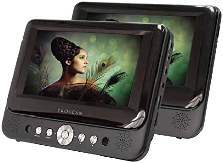 Proscan 7-Inch Dual Screen Portable DVD Player with USB/SD Card Reader,