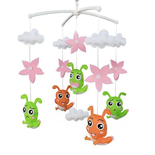Jouets éducatifs Décor de chambre d'enfant Design cousu à la main décoration de lit de bébé cadeau mobile pour nouveau-né Mobile musical pour 0-1 ans (insecte)