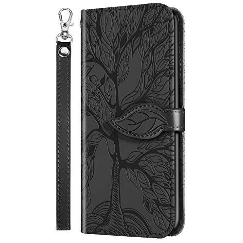 Nadoli Leder Tasche für Samsung Galaxy Note 10 Plus,Kreative Geprägte Magnetverschluss Kartenfach Standfunktion Lanyard TPU Brieftasche Schutzhülle Handytasche Etui mit Blätter Baum Entwurf