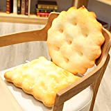 Yukuai 3D Soft Simulation Soda Crackers Shape Novelty Throw Pillows Funny Food Filling Plush Pillow, Cushion Creativity New Must Haves Gift, Suit for Party Home Decor (Square Sesame Flavor)