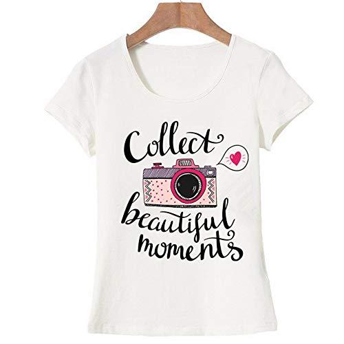 XIAOBAOZITXU Vogue Letter Camera Gedrukt T Shirt Vrouwen Zomer Tops Tees Korte mouw Mode Ronde hals Tshirt (wit)