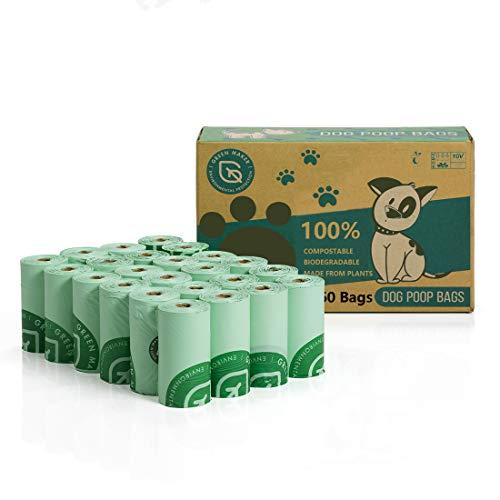 Green Maker 100% kompostierbare Hundekotbeutel 360 Beutel Biologisch abbaubare Hundekotbeutel aus Maisstärke mit EN13432 und Home Compost Zertifizierungen (Grün)