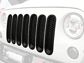 Hooke Road for Jeep Wrangler JK Grill Inserts Matte Black Front Mesh Grille Cover Guard Clip-in for Jeep JK Wrangler & Wrangler Unlimited 2007-2015