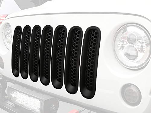 RT-TCZ Upgrade Version Clip-on Grille Front Mesh Grille Inserts for Jeep Wrangler 2007-2015 Chrome