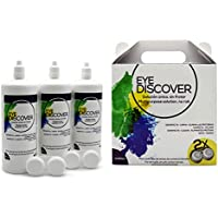 EYE DISCOVER Liquido Lentillas, Solución Única para Lentes de Contacto Blandas (Sin Frotar), Pack Ahorro 3 x 360 ml