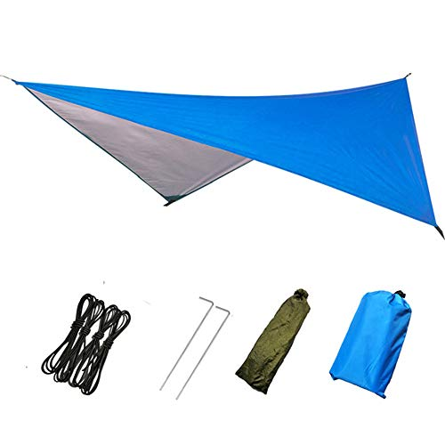 hammock CDFSG Outdoor Automatic Quick Opening Mosquito Net Hammock Tent With Waterproof Canopy Hammock Portable Pop-up 270x270cm blue canopy only
