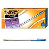 BIC Cristal Xtra Smooth Ballpoint Pen, Medium Point (1.0mm), Blue, 12-Count