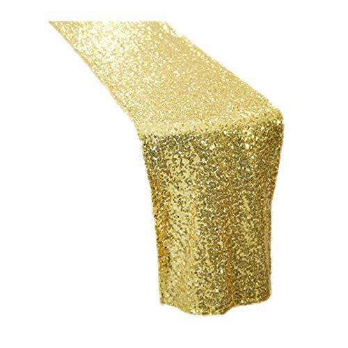 MUZIWENJU 1 Glänzende Gold Pailletten Tischläufer for Hochzeitsfeier Weihnachten Tuch Dekoration (Farbe : Gold, Größe : 30cmX200cm)