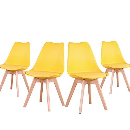 EGOONM Juego de 4 sillas, Silla de Comedor de Estilo nórdico, Apto para Comedor, salón y Cocina (Amarillo)