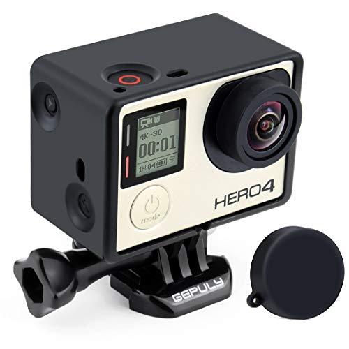 GEPULY Rahmen Mount Gehäuse Case für GoPro Hero4, Hero3+, Hero 3 mit LCD BacPac und Akku Erweiterung Zubehör
