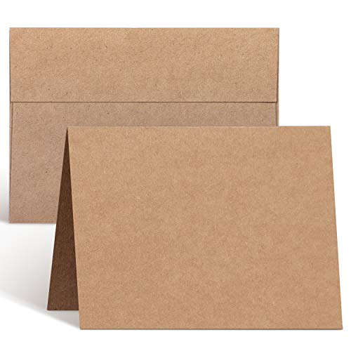 Blank Cards and Envelopes 100 Pack, Ohuhu 4.25 x 5.5 Heavyweight Kraft Paper Folded Cardstock and A2 Envelopes for DIY Greeting Card, Wedding, Birthday, Invitations, Thank You Cards & All Occasion
