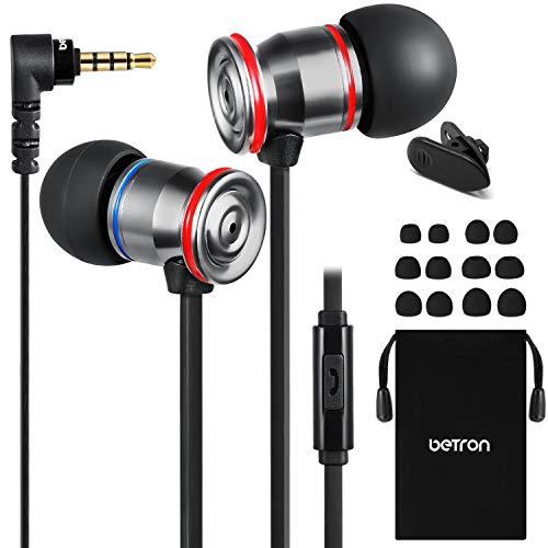 Betron MK23 oordopjes met microfoon, geluidsisolerende oortelefoon, platte kabel, vervangbare oordopjes, in oordopjes voor iPhone, iPad, MP3-spelers, Samsung, Android-apparaten en meer