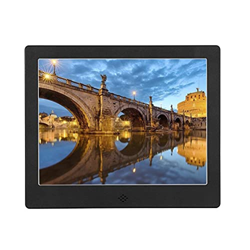 WYZXR Digital Picture Frame, Electric Photo Frames with 8 Inch IPS Screen HD Picture Album Support MP3 MP4 Video Player Clock Calendar with Remote Control,Black,AU