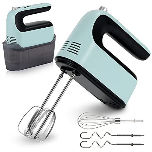 Yomelo Hand Mixer Electric, 9-Speed 400W Power, Kitchen Hand Held Mixer with Digital Screen, Touch Button, Turbo Boost and 5 Stainless Steel Accessories, for Egg, Cake, Cream, Dough (with Box)