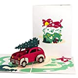 Ribbli Christmas Tree&Car Handmade 3D Pop Up Card,Greeting Card,Christmas Card,Funny Card,Tree Card,Car Card,Red Truck Card,with Envelope