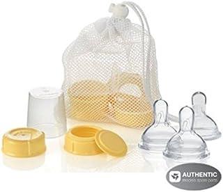 Medela Breastmilk Bottle Spare Parts with 3 Slow-flow Wide Base Nipples