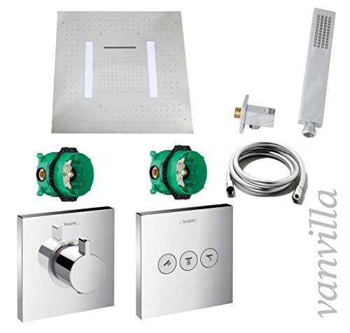 Vanvilla Hansgrohe ShowerSelect HG42 - Set de ducha con grifo empotrado, termostato y cabezal de ducha con luz LED de lluvia con chorro, acabado pulido