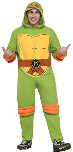 Rubie's Men's Teenage Mutant Ninja Turtles Hooded Jumpsuit, Michelangelo, X-Large