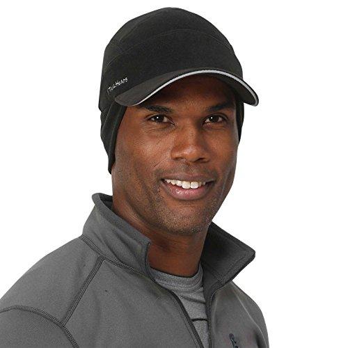 TrailHeads Men's Fleece Ball Cap with Drop Down Ear Warmer   The Trailblazer Adventure Hat - Black