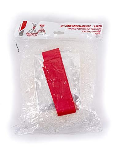 FLORIO CARTA S.p.A Kit Paglia di Plastica per Cesti, Truciolo+Foglio+Fiocco, 120g