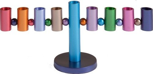 Yair Emanuel Judaica Menorah - Hanukkah Candles Holder 9 Branch Hanukkah Cylinder Menorah Multicolor (Bundle)