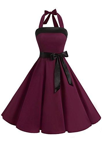 Timormode Damen Vintage Cocktailkleid Knielang Neckholder Swing Retro Rockabilly Kleid S Burgundy