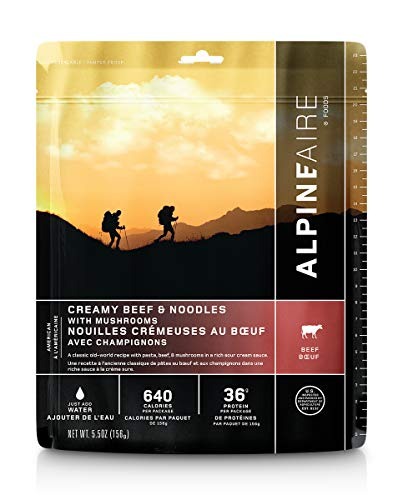Alpine Creamy Beef & Noodles with Mushrooms Freeze-Dried/Dehydrated Entrée Meal Pouch, Just-add-Water, 2-Servings per Pouch, 18g of Protein per Serving