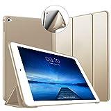 VAGHVEO Funda iPad Air 2, Ligera Silicona Soporte Smart Cover [Auto-Sueño/Estela], Cubierta Trasera de TPU Suave Cáscara para Apple 9.7 Pulgadas iPad Air 2 (Modelo: A1566, A1567), Oro