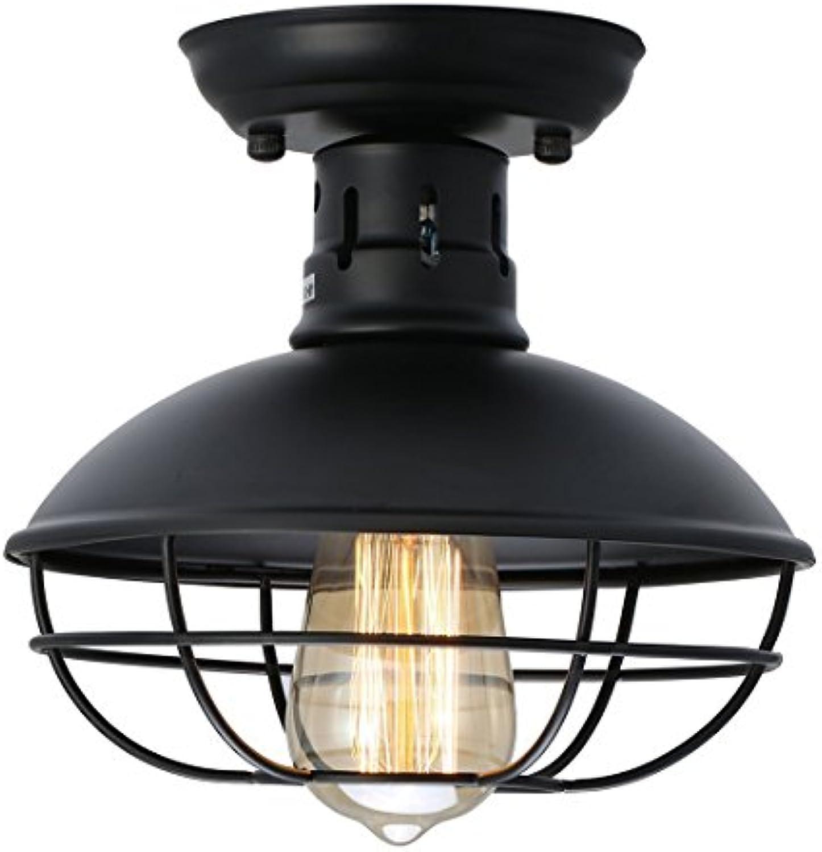 Industrial Vintage Deckenleuchte Schwarz Deckenlamp Eisenkunst Deckelicht E27 Einflammig Für Esszimmer Cafe Bar Usw 21Cm22Cm