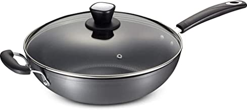Flat Bottom Wok,Ceramic Non-Stick Frying Pan without Oil Fume, Saucepans Griddle Pans Non Stick Wok Alloy,Safety And Prote...