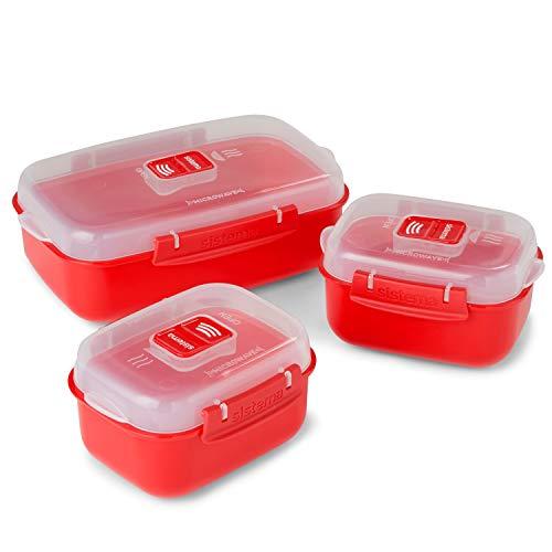 Sistema Heat & Eat Contenants pour micro-ondes| Boîtes à lunch empilables avec couvercles à clip | Rouge / Clair | Paquet de 3