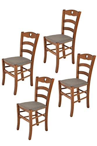 Tommychairs - Set 4 sillas Cuore para Cocina y Comedor, Estructura en Madera de Haya Color Nuez Claro y Asiento tapizado en Tejido Color corzo