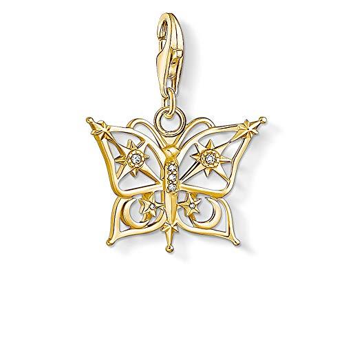 THOMAS SABO Colgante de plata de ley chapada en oro con circonitas cúbicas y mariposa
