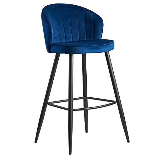 FineBuy Barhocker Samt Blau Hocker mit Lehne 56x102,5x52,5 cm | Küchenhocker Skandinavisch Stoff/Metall 110 kg | Design Barstuhl Tresenhocker | Bistrohocker Gepolstert