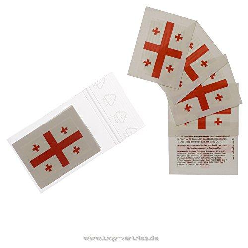 10 x Georgien Tattoo Fan Fahnen Set - Georgia Temporary Tattoo Flag (10)