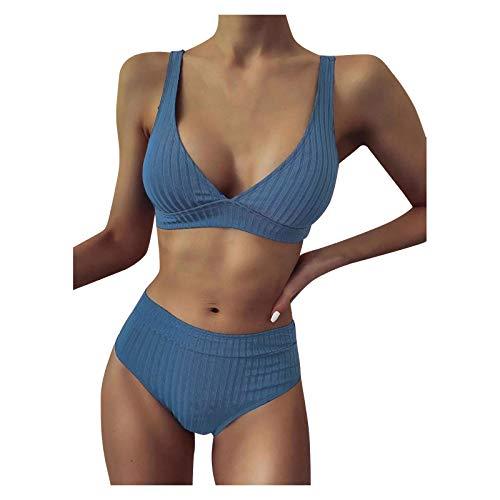 TSPRING Damen Push Up Bikini Set Swimwear Bikini Damen Sexy Damen Zweiteilige High Waist Bikini Set Strandwear L Blau