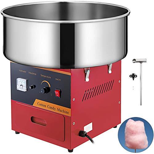 VEVOR Máquina de Algodón de Azúcar 220V Rojo Algodonera de Azúcar Cotton Candy Machine Máquina Profesional para Hacer Nubes de Azúcar