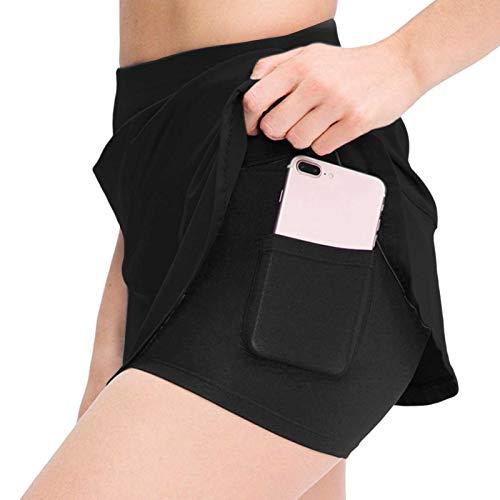 Falda corta para mujer con falda, de dos piezas, antiluz y de secado rápido, para fitness, tenis