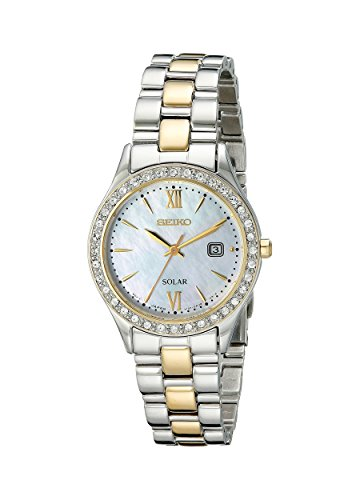 Women's  Dress Two-Tone Stainless Steel Swarovski Crystal-Accented Solar Watch - Seiko SUT074