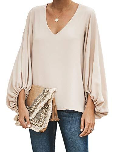 Women's Casual Boho Tops Long Sleeve V Neck Chiffon Floral Blouse Loose Shirts Khaki