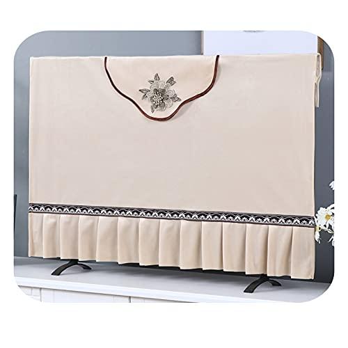 Yinian TV Europea Cubierta Polvo, TV Pantalla Protector Paño para LCD Led Dormitorio Interior Sala De Estar Decoración Televisión Paño(Size:58-60in,Color:Beige)
