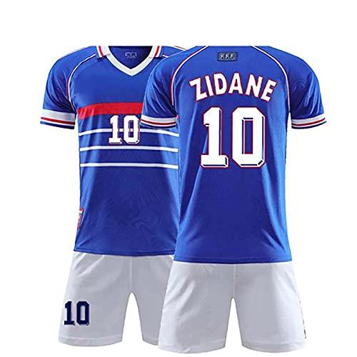 Trajes De Camiseta De Fútbol Para Hombres Y Niños, Uniforme De Fútbol Francia 10 Zidane 1998, Camiseta De Entrenamiento De Camiseta Transpirable De Secado Rápido + Pantalones Cortos,Azul,XS/X~Small