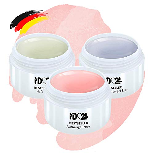 Gel Set - Haftgel + Aufbaugel Rosa + Finish Versieglergel - Made in Germany (3 x 15ml)