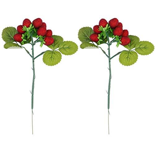 VOSAREA Czerwona jagoda gałązka łodygi sztuczne bordowe jagody kostki do dekoracji wieńca DIY rzemiosło ślub kwiat aranżacje zdjęcia rekwizyty 2 szt.