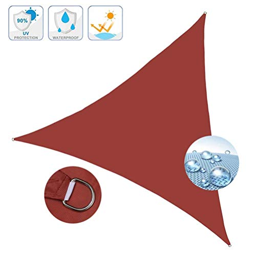 YYRZ Sonnensegel, Sonnensegel Dreieckig, Schattenspender Dreieck, Hochwertigem Polyester Mit UV Schutz, Für Draußen, Patio, Garten Terrasse Camping,Rot,4X4X4m