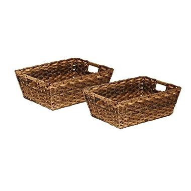 Seville Classics Handwoven Nesting Storage Basket 2-Piece Set, Mocha