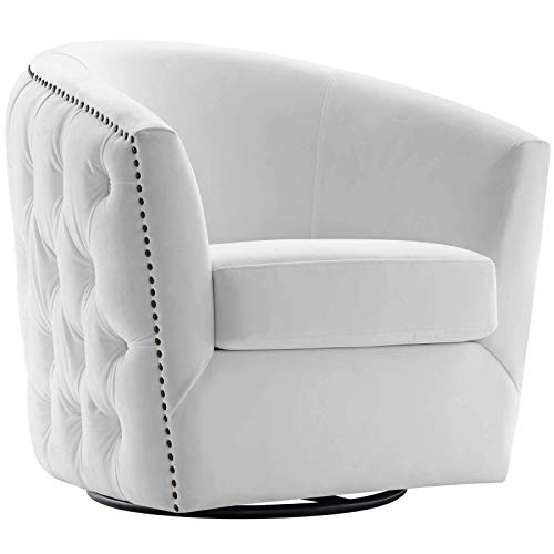 """Modway EEI-3434-WHI Rogue Performance Velvet Barrel Back Accent Lounge Swivel Chair in White 29""""L x 32""""H"""