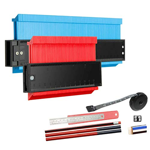HIRALIY Konturenlehre Set, 2 Packung(5'', 10'') Konturgerat mit 7 Messwerkzeug für unregelmäßiges Form- Profillehre Duplikator Konturmessgerät, Rot & Blau