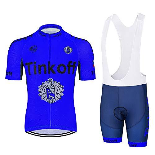 Heren Fietspak Fietskleding met korte mouwen Comfortabele sneldrogende sportkleding met jersey en gewatteerde korte broek