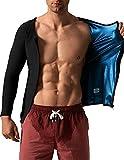 DYUAI Sauna Suit for Men Sauna Jacket Weight Loss Sauna Long Sleeve Top Sauna Shrit Hot Sweat Vest Slimming with Zipper,Thermal Body Shaper Fitness Gym Lose Belly Fat Waist Trimmer(BH6002,M,01)
